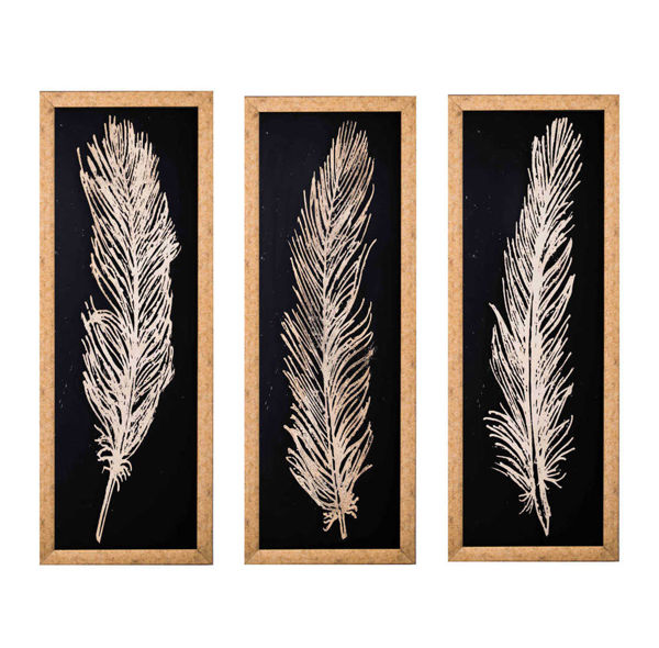 Cam Altın Varak İşleme Kuş Tüyü Tablo resmi