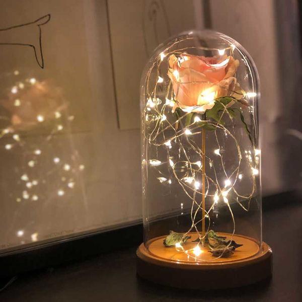 Pembe Gül Işıklı Cam Fanus Lamba resmi