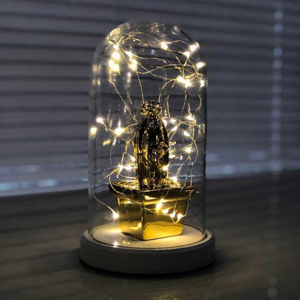 Işıklı Cam Fanus Gold Kare Kaktüs Figürlü resmi