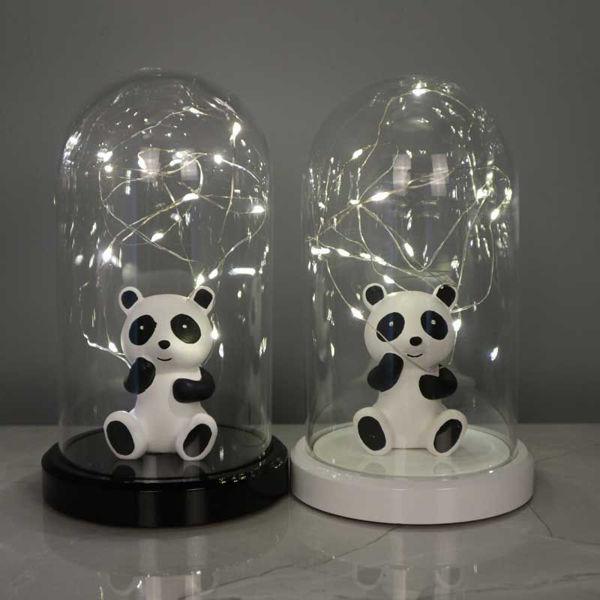 Işıklı Cam Fanus Panda Figürlü resmi