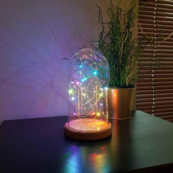 Renkli Işıklı Cam Fanus Lamba resmi