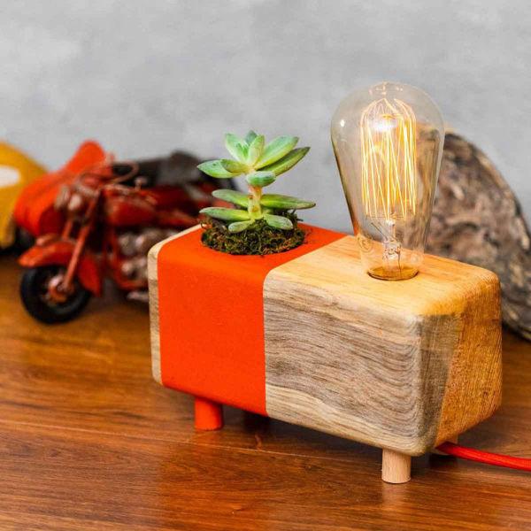 Nar Çiçeği Kaktüslü Masa Lambası resmi