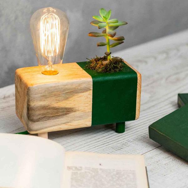Yeşil Kaktüslü Masa Lambası resmi