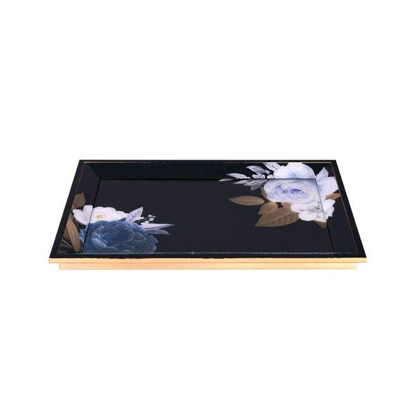 Mavi Beyaz Çiçek Desenli Tepsi resmi
