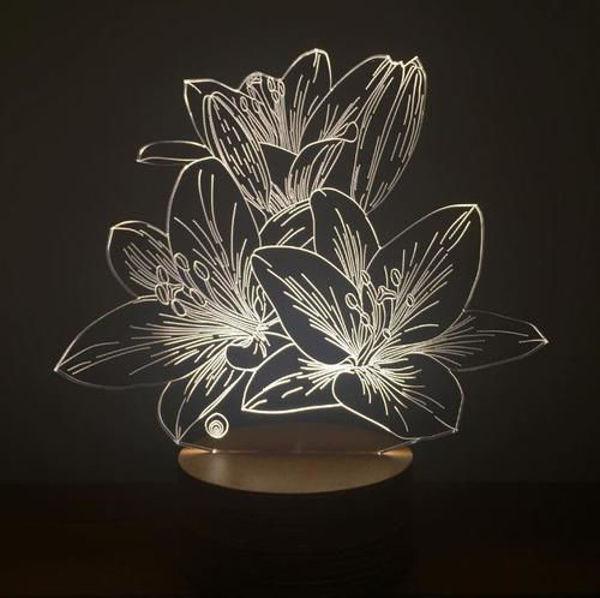 3 Boyutlu Lilyum Çiçeği Led Lamba resmi