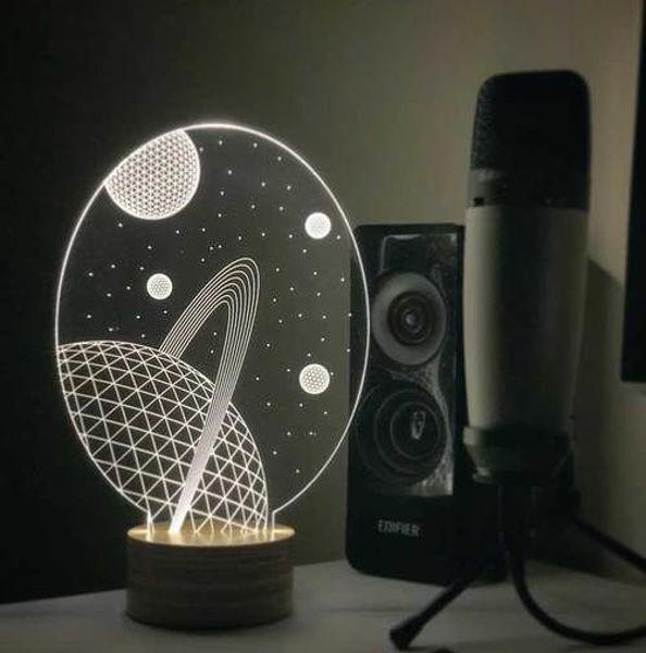 3D Satürn Led Gece Lambası resmi