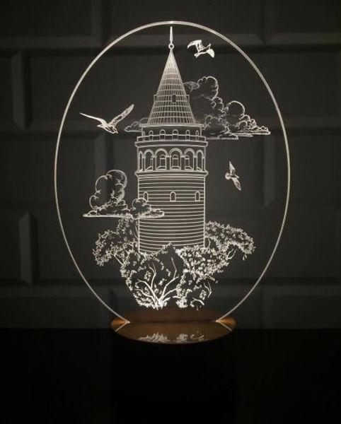 3 Boyutlu Galata Kulesi Gece Lambası resmi